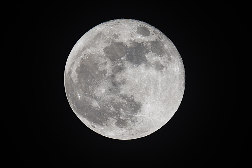 Details of full moon seen with a telescope