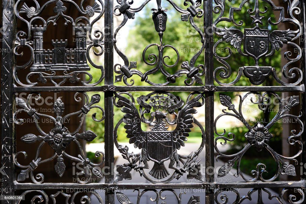 Details of Gate in Yale University stock photo