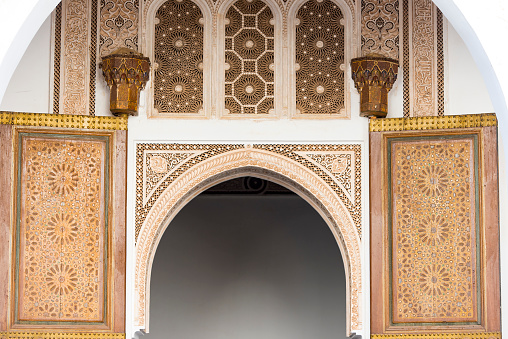 Details of Interior of Bahia palace in Marrakesh Morocco