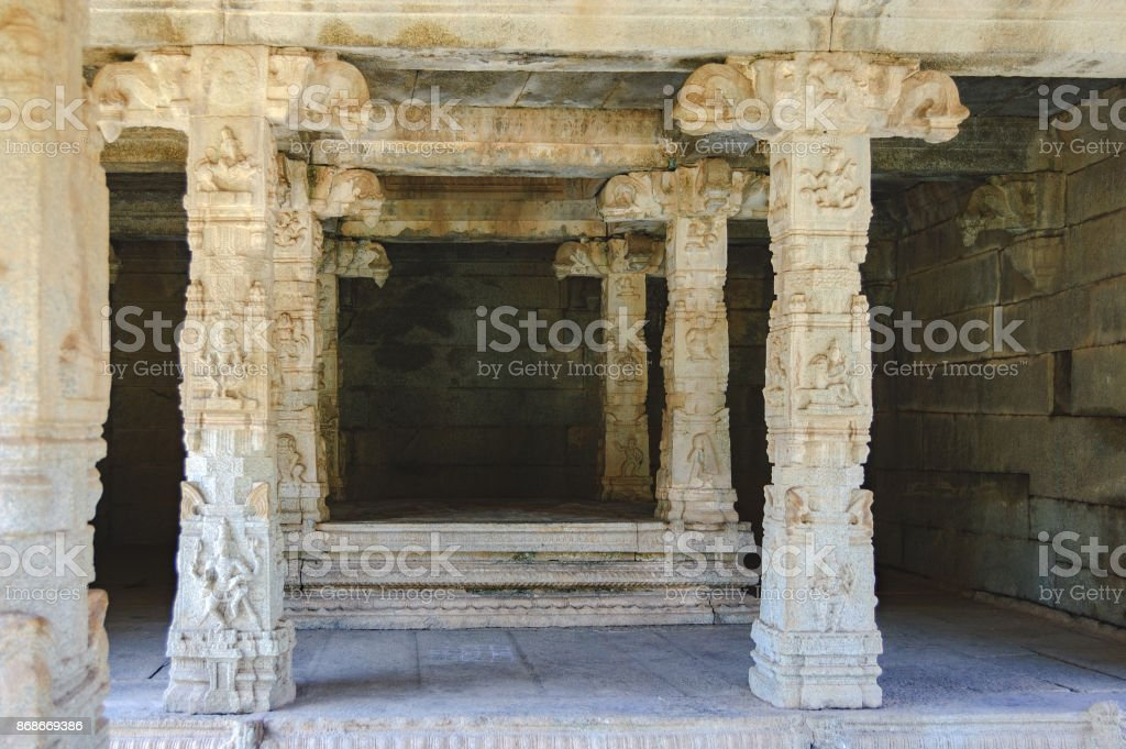 Details of interior of Prasanna Virupaksha temple in Hampi, India stock photo