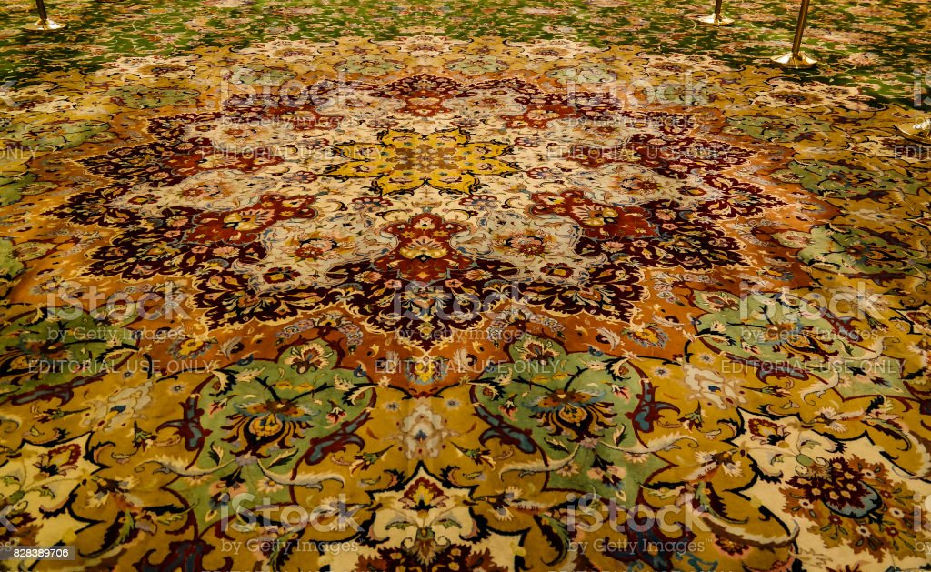 Details of Interior to Sheikh Zayed Mosque. Carpet. , Abu-Dhabi, UAE stock photo
