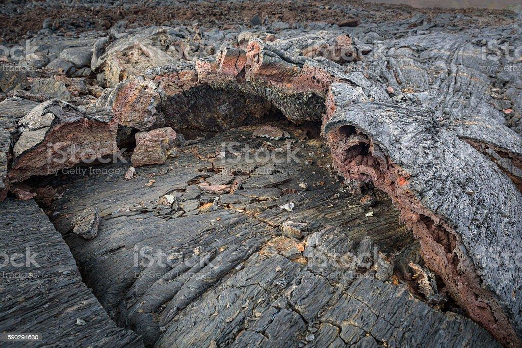 Details of lava streams on the slopes of Tolbachik Volcano royaltyfri bildbanksbilder