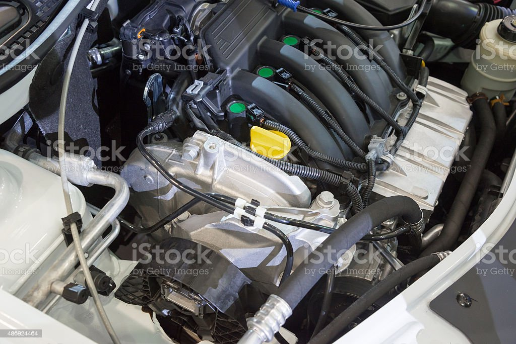Details of  new car engine stock photo