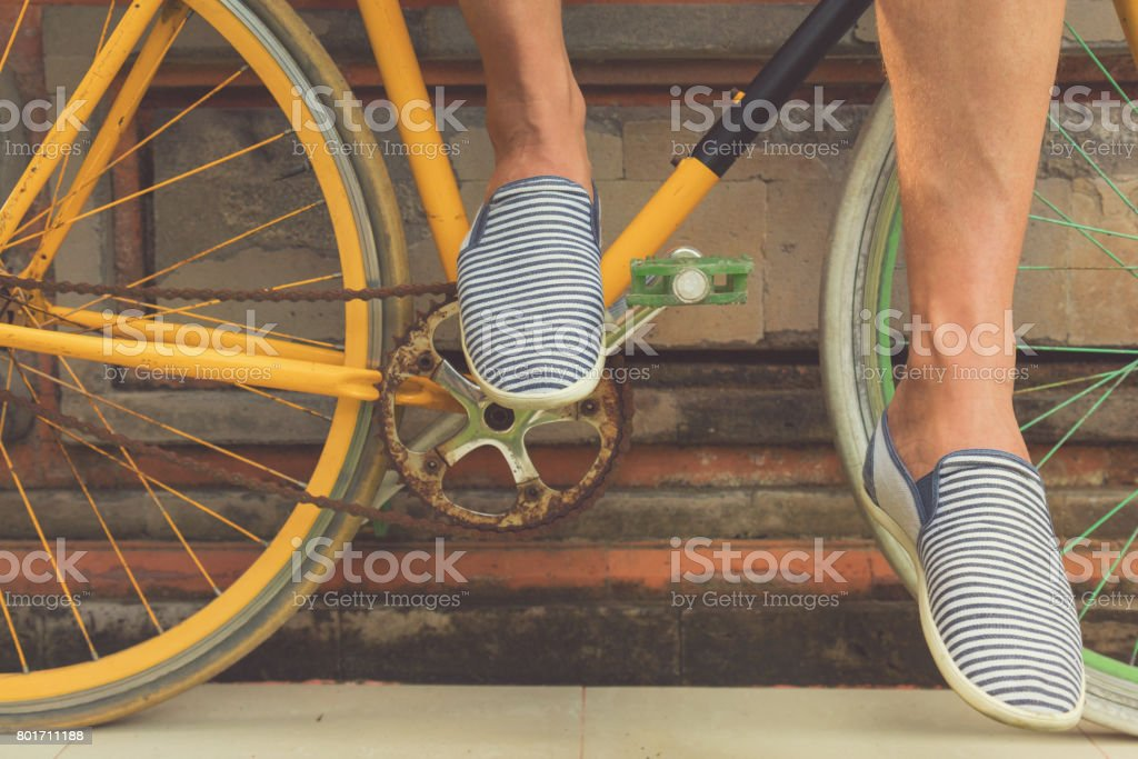 Details of old bicycle. stock photo