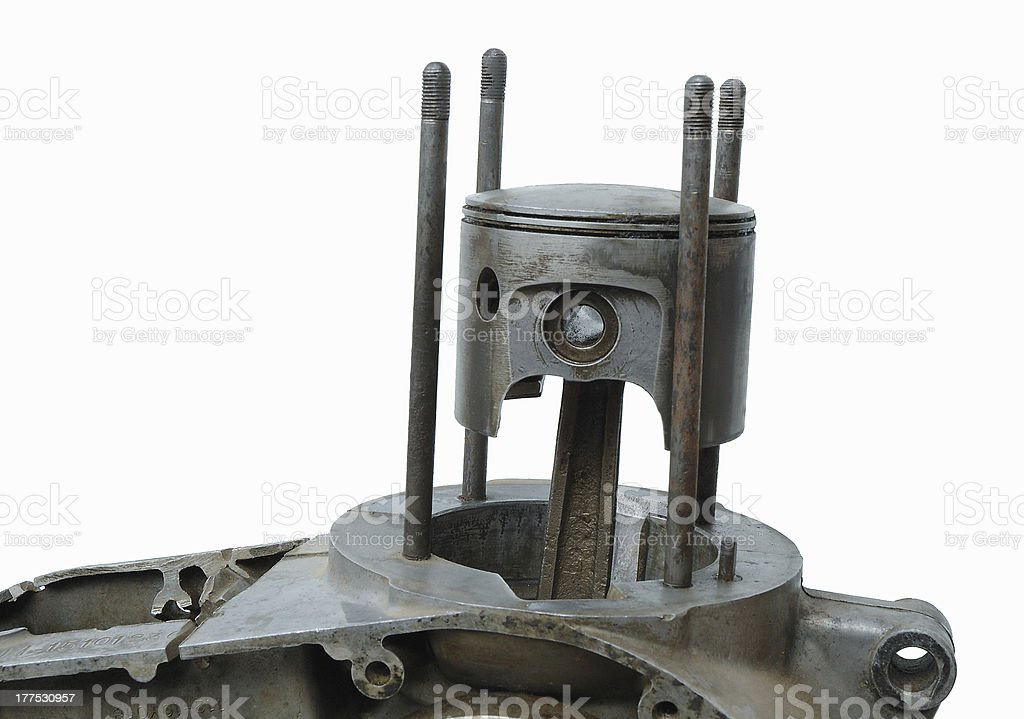 Details of old four stroke engine stock photo