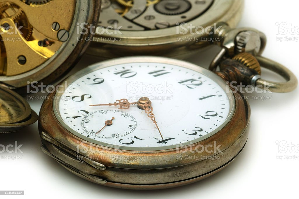 Details of old pocket watches royalty-free stock photo