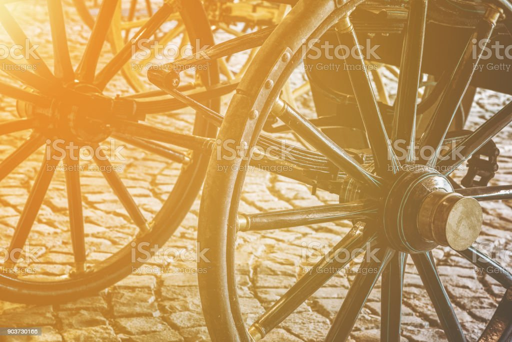 Details of old vintage carriage wheels stock photo