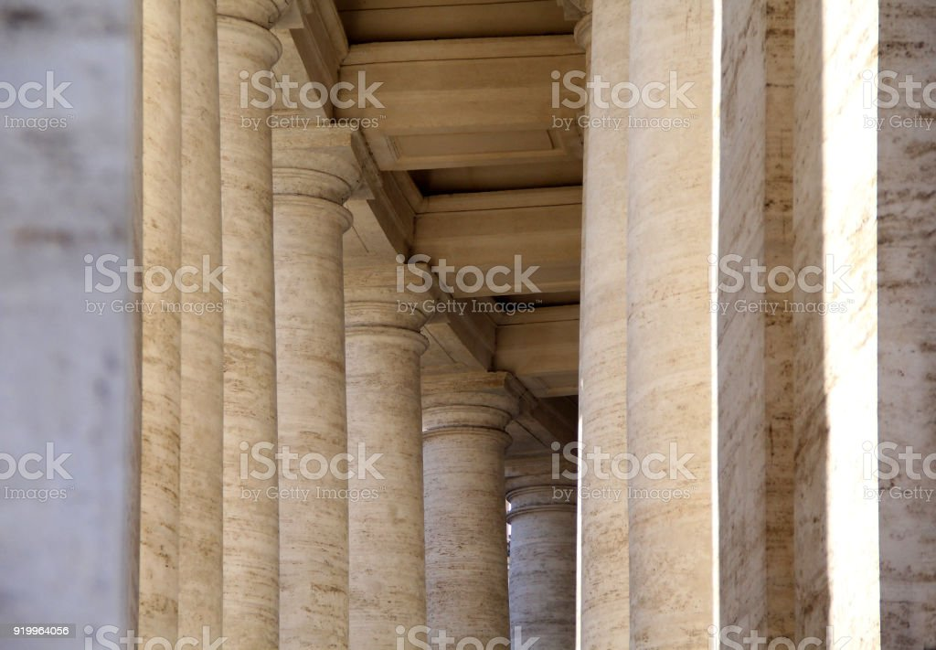 A details of old walls and ancient columns in Rome, Italy in form of abstract background. stock photo