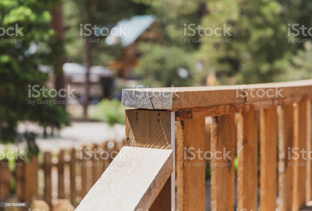 Details of Old Wood Deck Railing stock photo