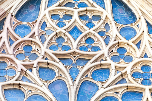 Details of rose window in  Barcelona Cathedral in Gothic Quarter, Spain