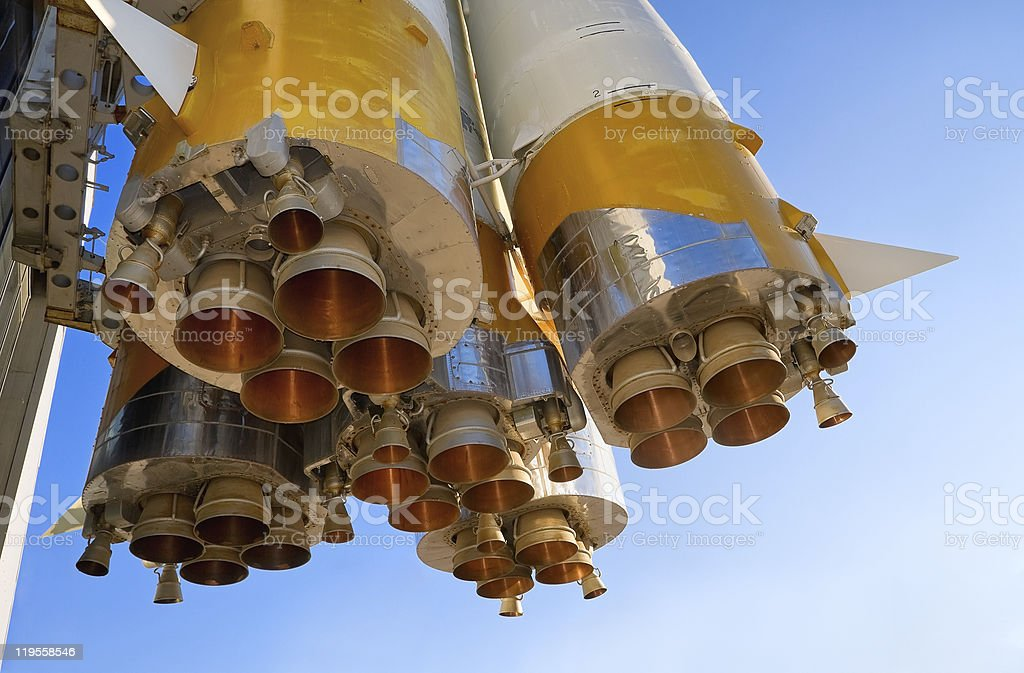 Details of space rocket engine stock photo