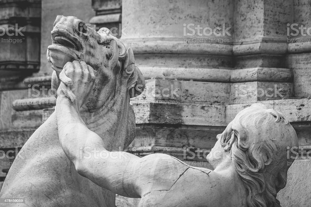 Details of statues at Trevi Fountain in Rome royalty-free stock photo