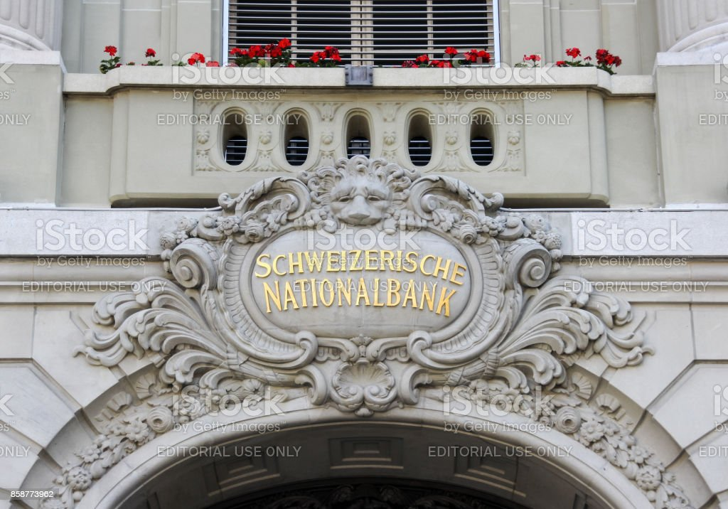 Details of the building of the Swiss National Bank stock photo