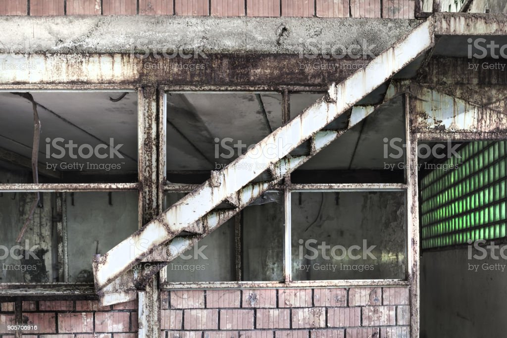 Details of the Interior of an abandoned production hall in Tarnita,  Romania. stock photo
