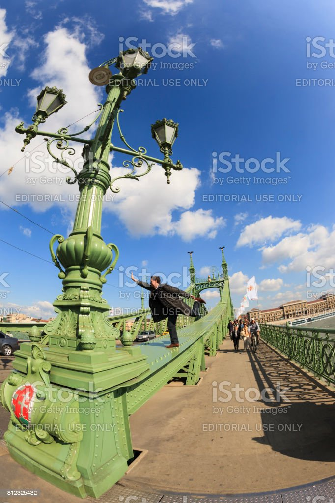 Details of the Liberty Bridge -  Budapest. stock photo