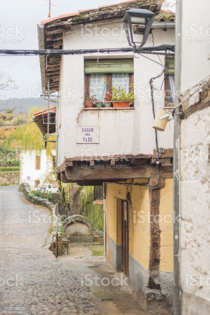 Details of the medieval city of Hervas stock photo