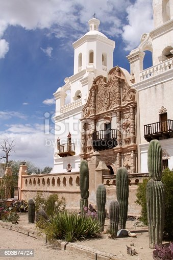 Details of the Mission San Xavier Del Bac found just outside Tucson Arizona. The building was completed in 1797 at a Catholic Mission. Today it is a National Historic landmark that still serves the religious needs of its visitors. It is often referred to as