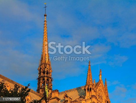 Details of the ornate gothic spire viewed from the southern side of Notre Dame de Paris Cathedral colored by the warm light of sunset