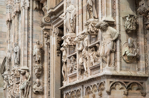 Details of the ornate marble facade at Milan Cathedral