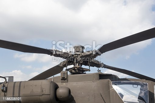 Details of the rotor and part of the body of military helicopters