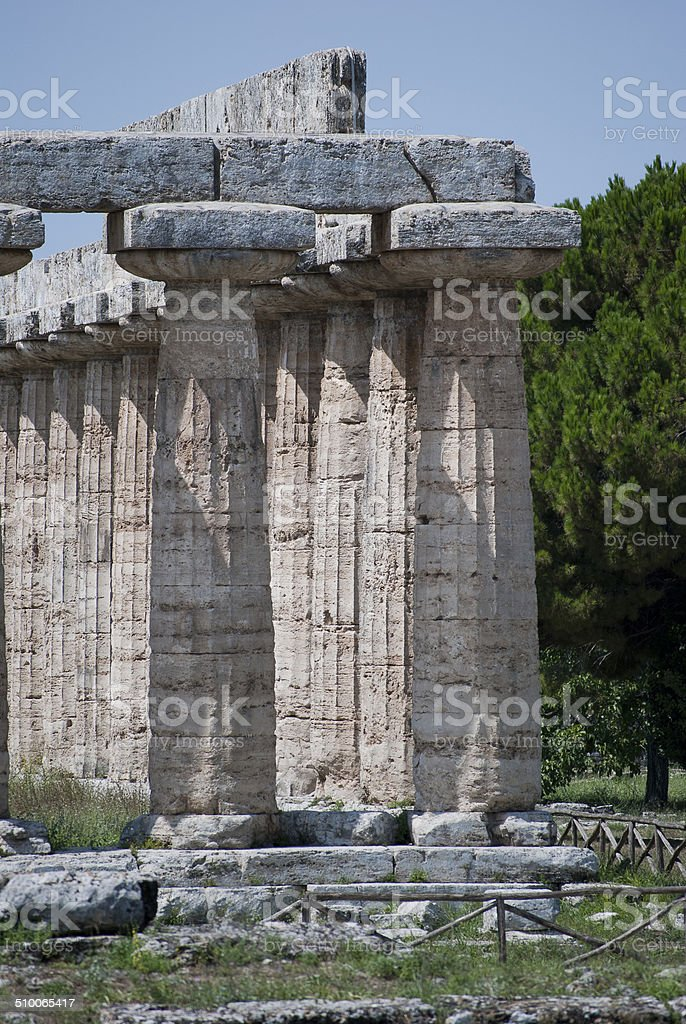 Details of the ruins Paestum stock photo