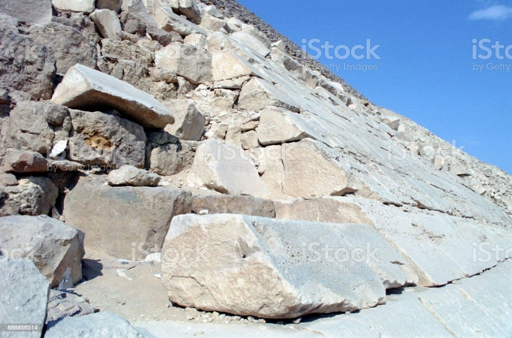 Details of the Stone Blocks of the Great Pyramid at Giza, Cairo, Egypt. stock photo