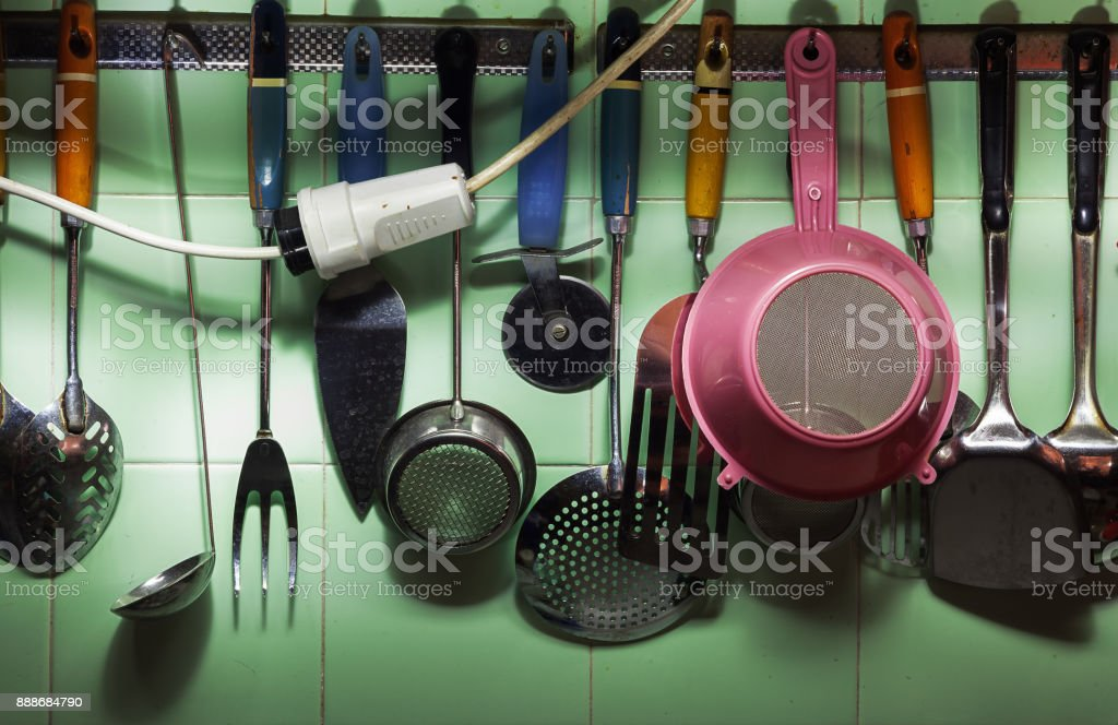 Details of Various Utensils stock photo