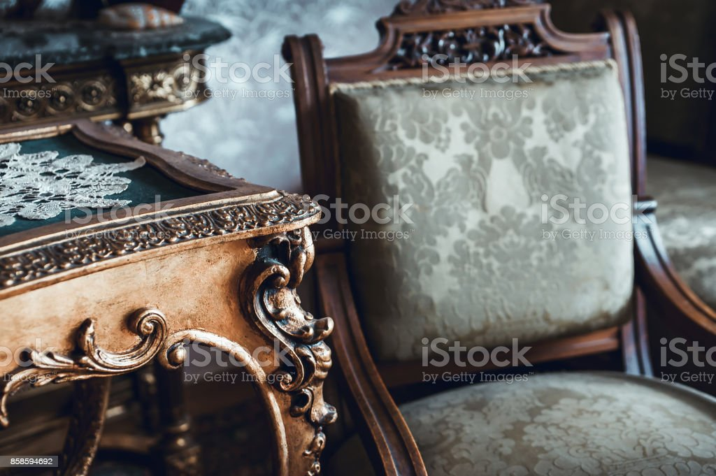Details of vintage furniture stock photo