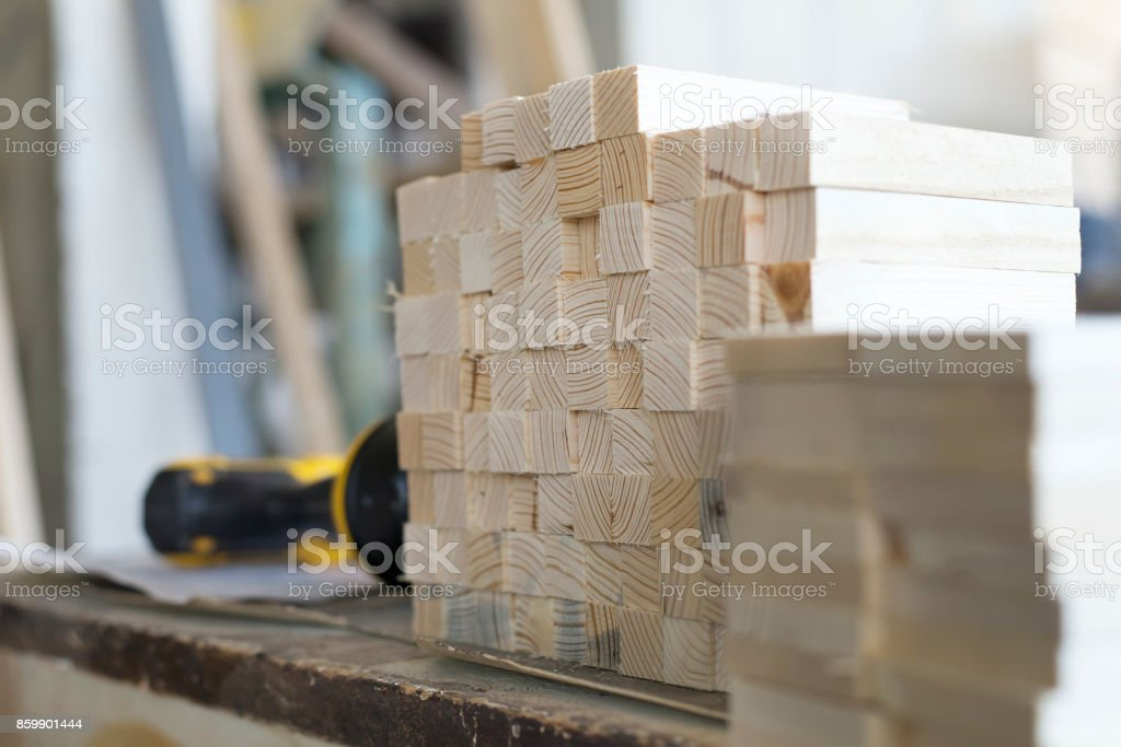 Details of wood in carpentry workshop. Close up. stock photo