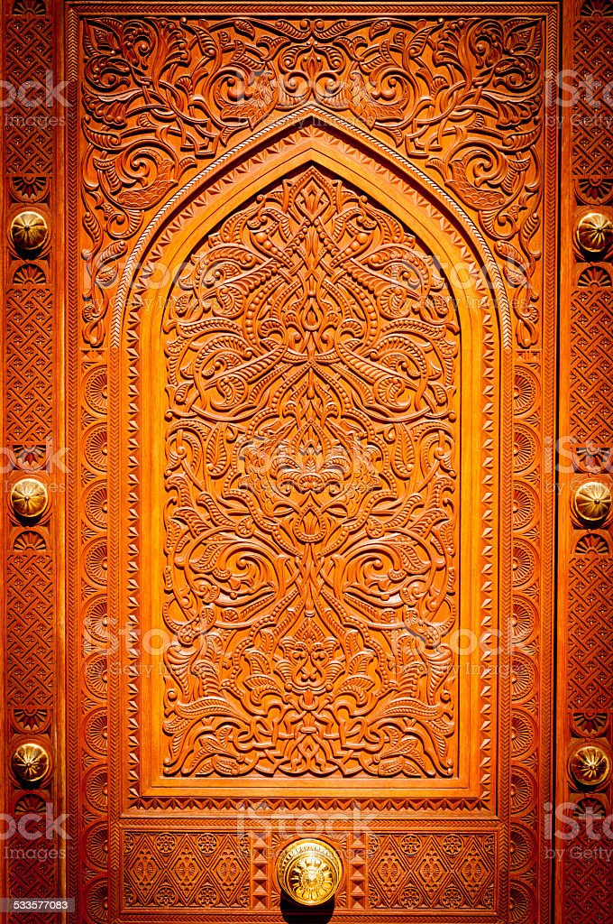 Details of wooden door of  Mosque, Muscat, Oman stock photo
