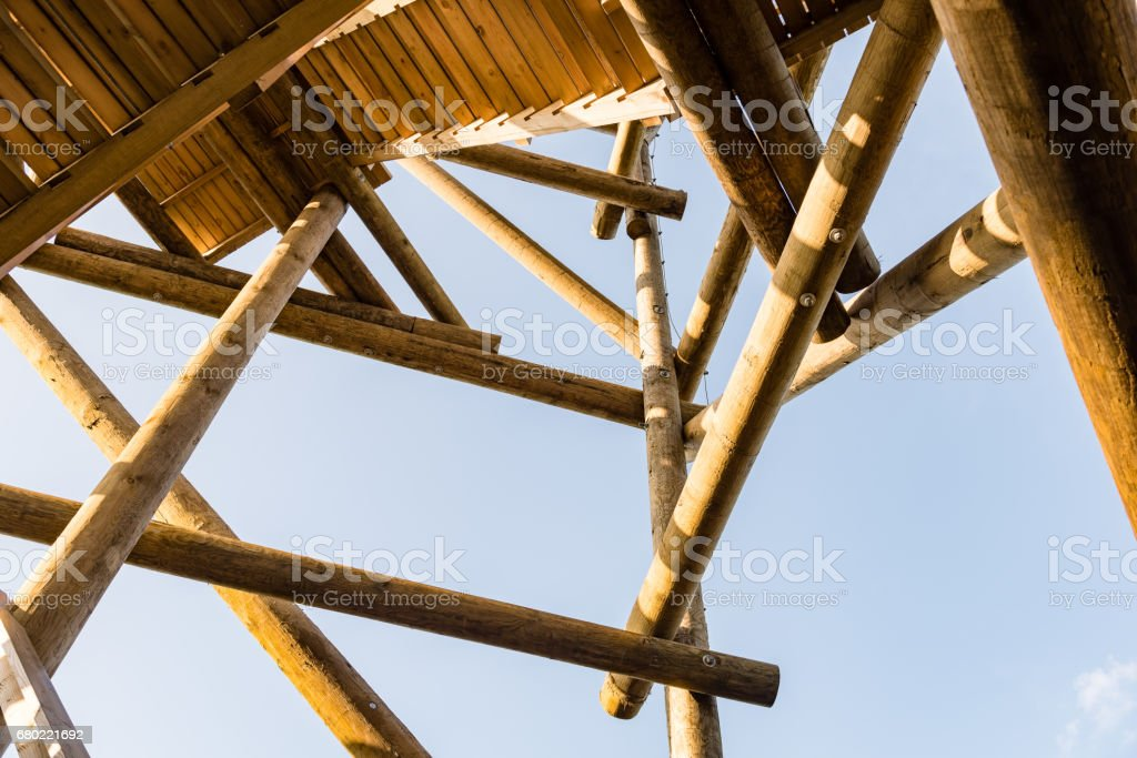 details of wooden watch tower stock photo