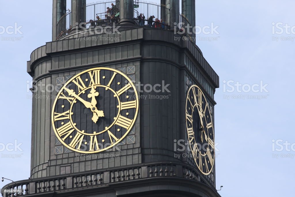 Details on St. michaelis church in Hamburg city in Germany stock photo