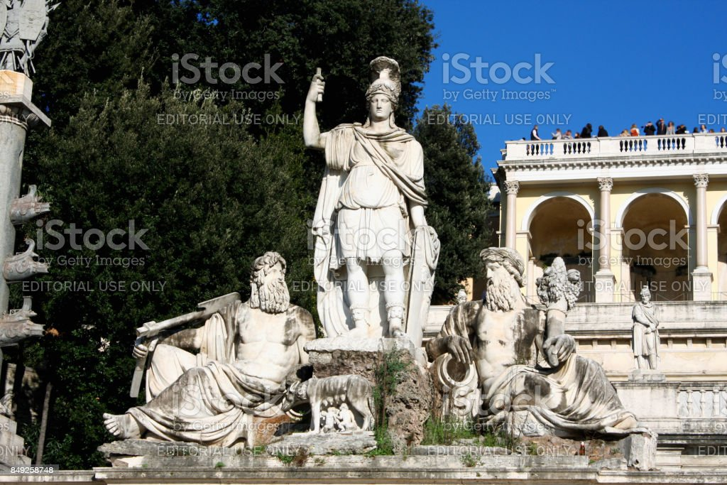 Details on the many of antique fountains on Rome square ''Piazza del Popolo'' or People's Square. stock photo