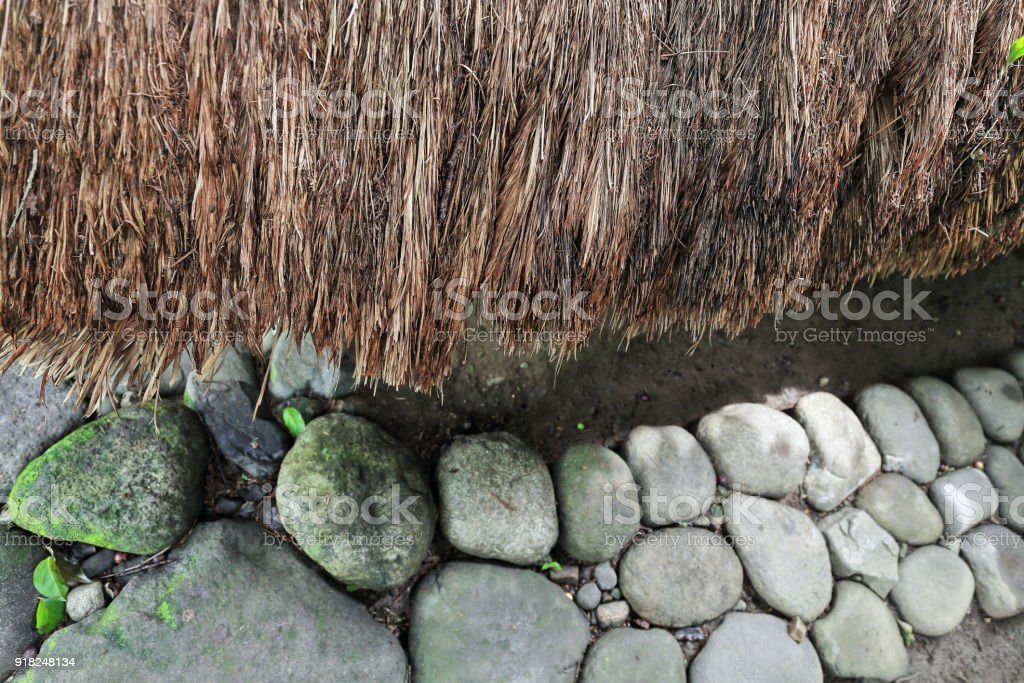 Detail-thatched roof of ulog-olog communal dormitory for girls. Bontoc-Mountain province-Philippines. 0208 stock photo