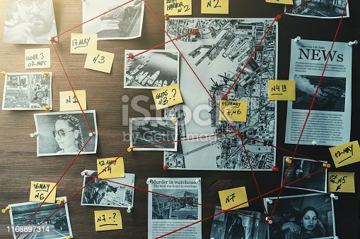 Detective board with photos of suspected criminals, crime scenes and evidence with red threads, retro toned