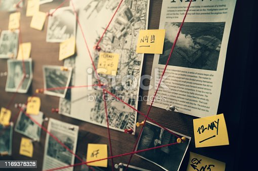 Detective board with photos of suspected criminals, crime scenes and evidence with red threads, selective focus, retro toned