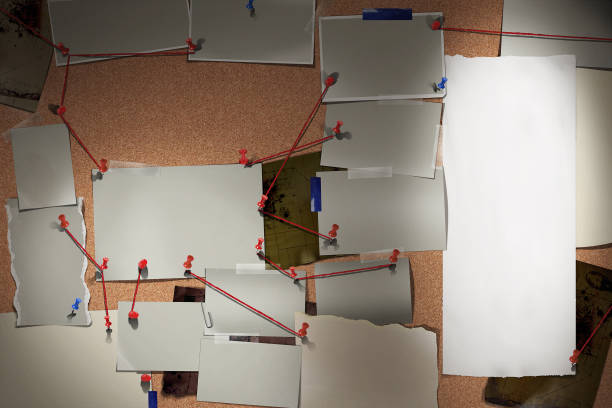 Detective board with photos of suspected criminals, crime scenes and evidence with red threads Investigation Board / Research Panel with photos, photo spaces, text space, title space. With red wires connecting dots, cork base. crime stock pictures, royalty-free photos & images