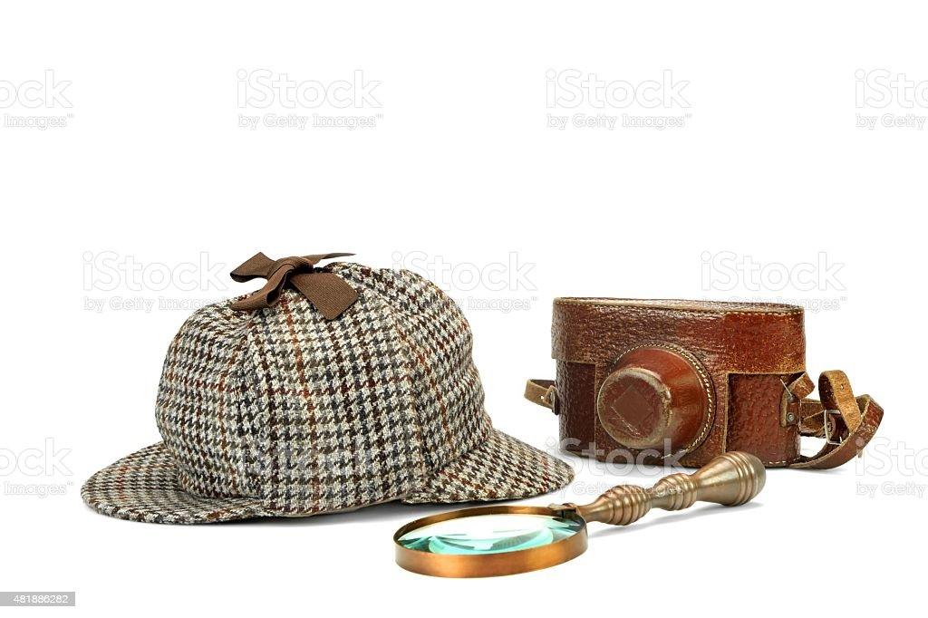 49ee305c35 Sherlock Holmes Casquette de Sherlock Holmes Vintage, loupe et Re photo  libre de droits