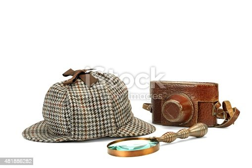 Sherlock Holmes Deerstalker Cap, Vintage Magnifying Glass And  Retro Camera Isolated On White Background. Investigation Concept