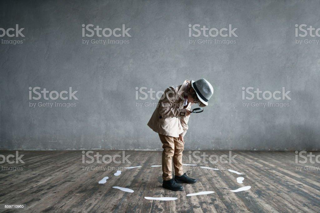 Detective in studio stock photo