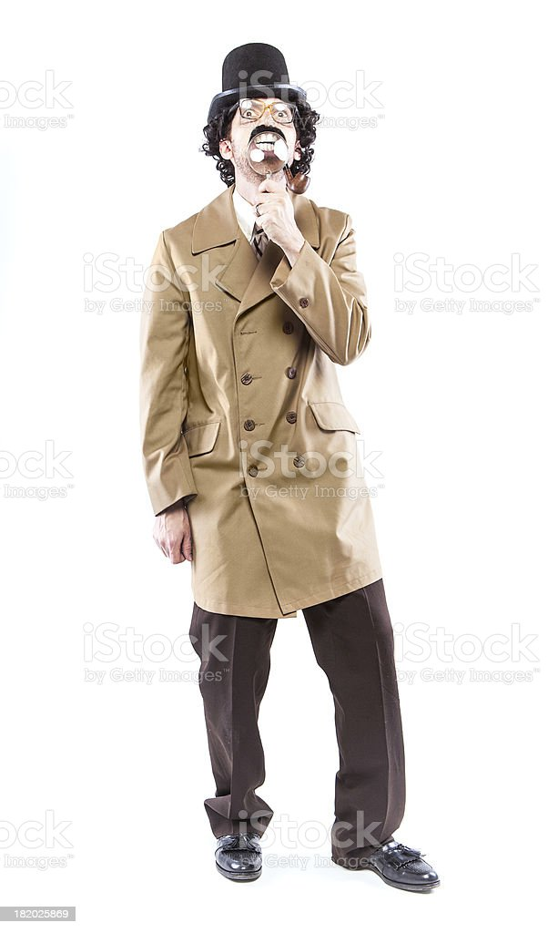 Detective Inspector With Pipe & Magnifying Glass stock photo