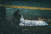 Outdoor police crime scene