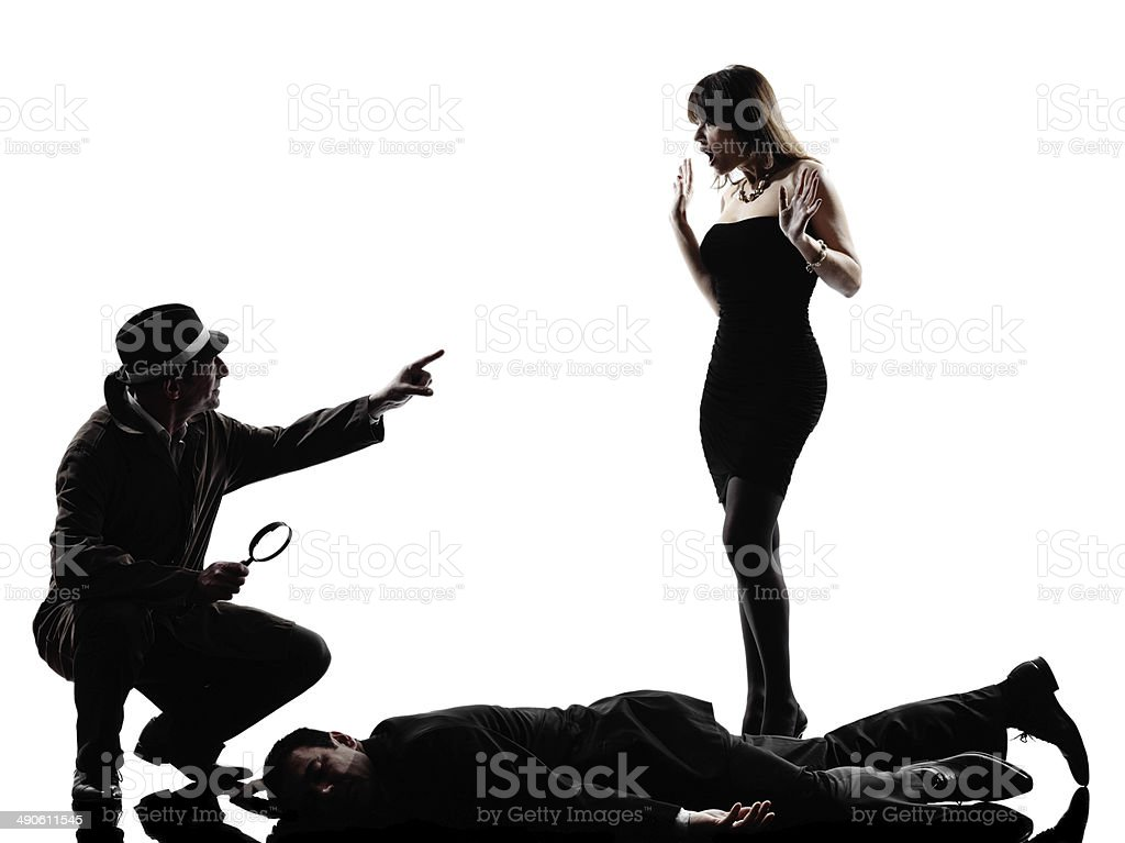 detective man criminals investigations silhouettes stock photo