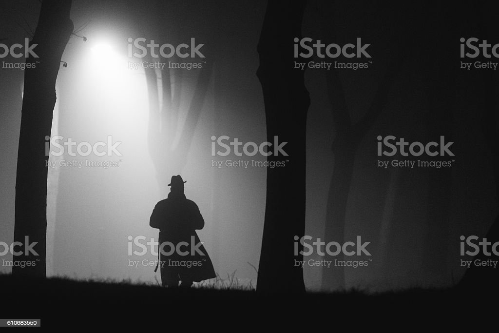 Detective on his way stock photo