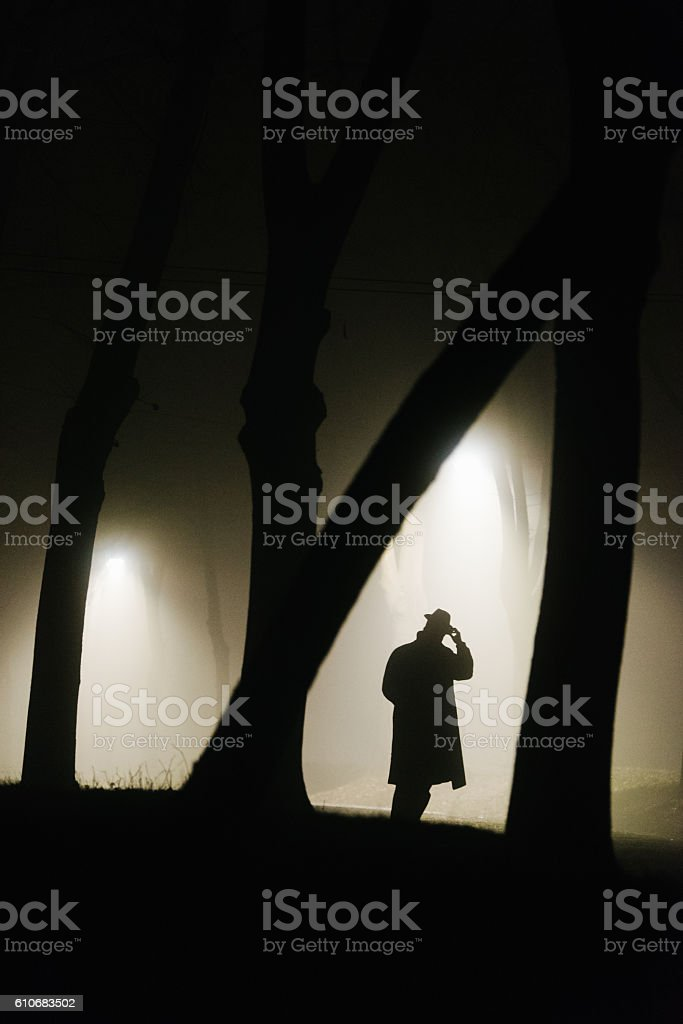 Detective on the crime scene stock photo