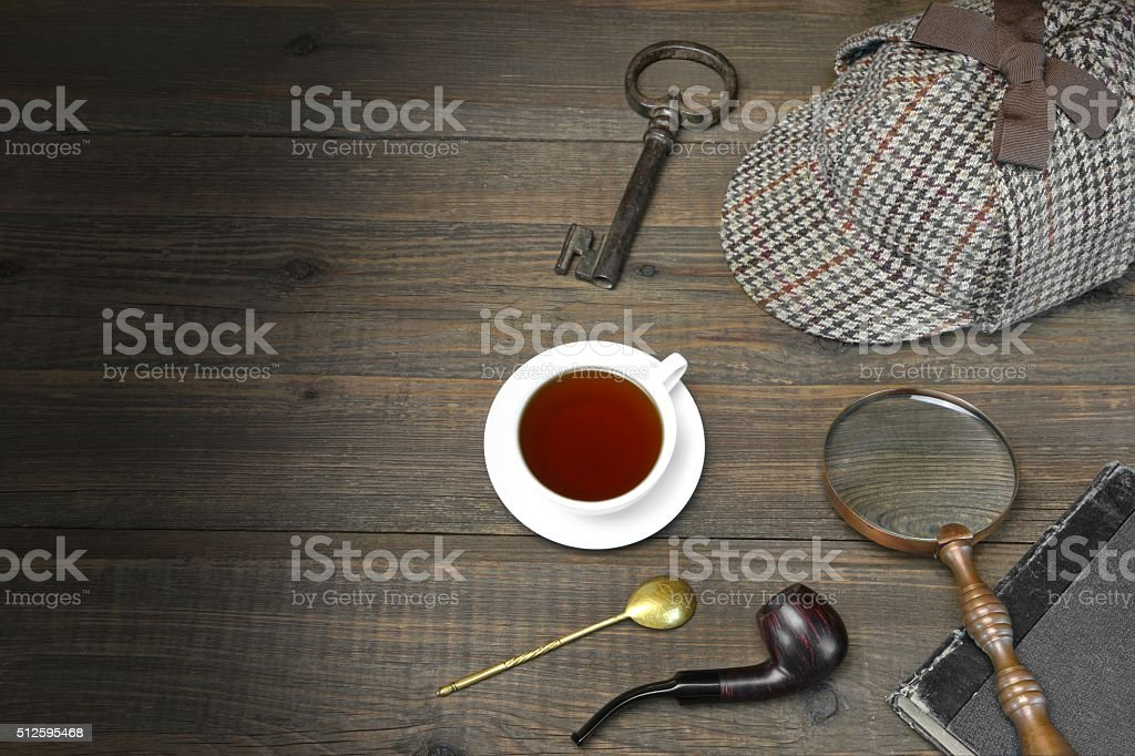 Detective or Investigator Concept. Private Detective Tools On Wooden Table stock photo