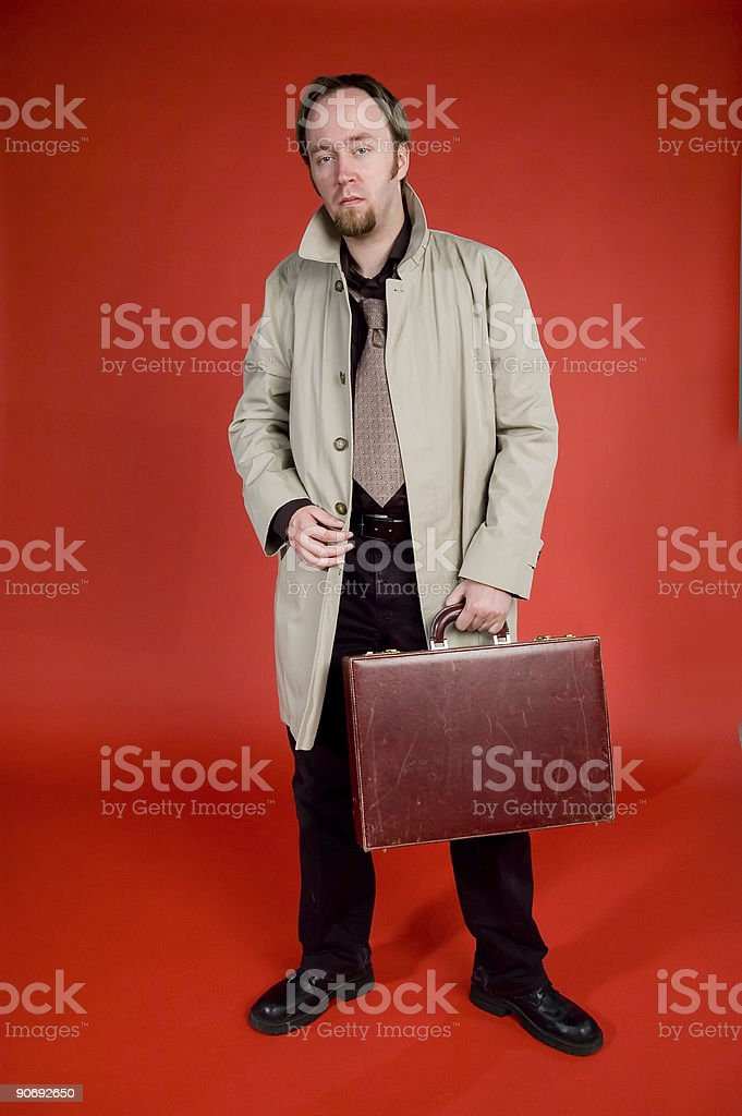 Detective Series - Standing With Briefcase 1 royalty-free stock photo