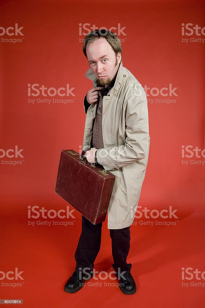 Detective Series - Standing With Briefcase 3 royalty-free stock photo