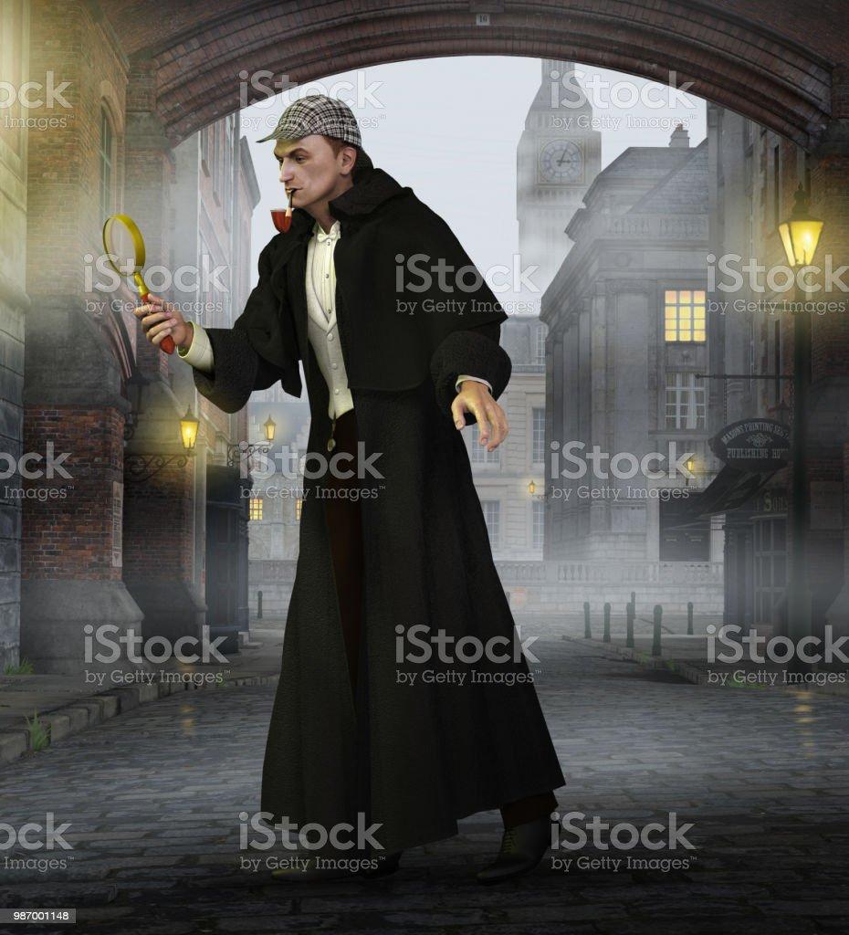 Detective Sherlock Holmes In Old London - Fotografie stock e altre ... cb81adc32ece