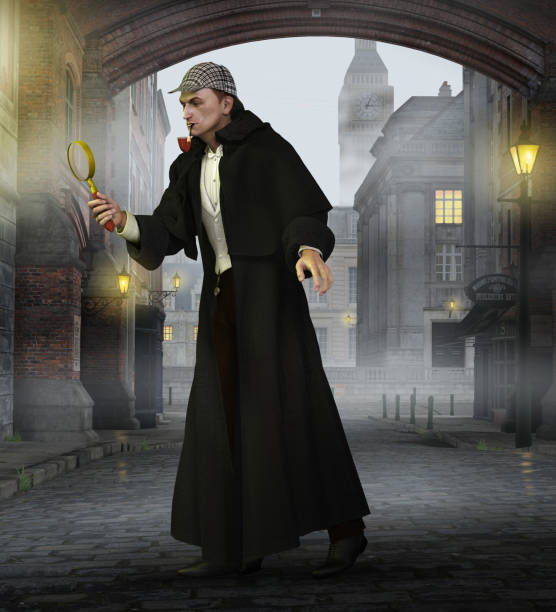 detective sherlock holmes in old london - sherlock holmes stock photos and pictures